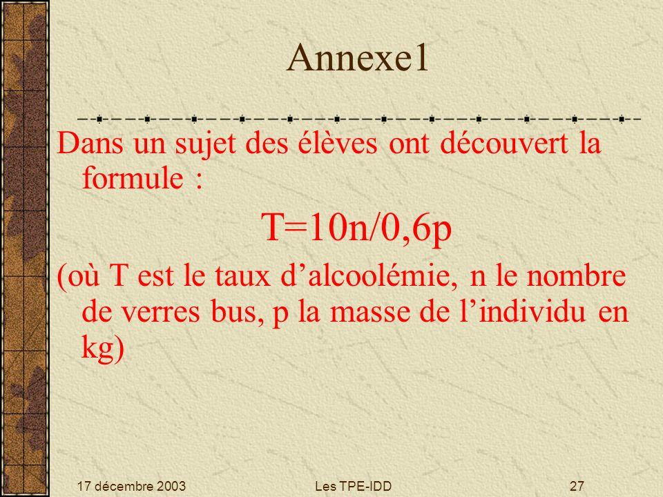 17 décembre 2003Les TPE-IDD27 Annexe1 Dans un sujet des élèves ont découvert la formule : T=10n/0,6p (où T est le taux dalcoolémie, n le nombre de ver