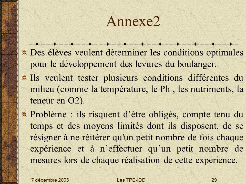 17 décembre 2003Les TPE-IDD29 Annexe2 Des élèves veulent déterminer les conditions optimales pour le développement des levures du boulanger. Ils veule