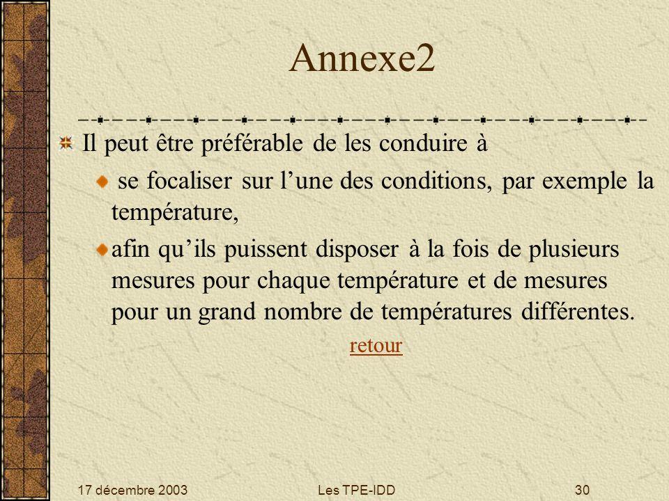 17 décembre 2003Les TPE-IDD30 Annexe2 Il peut être préférable de les conduire à se focaliser sur lune des conditions, par exemple la température, afin