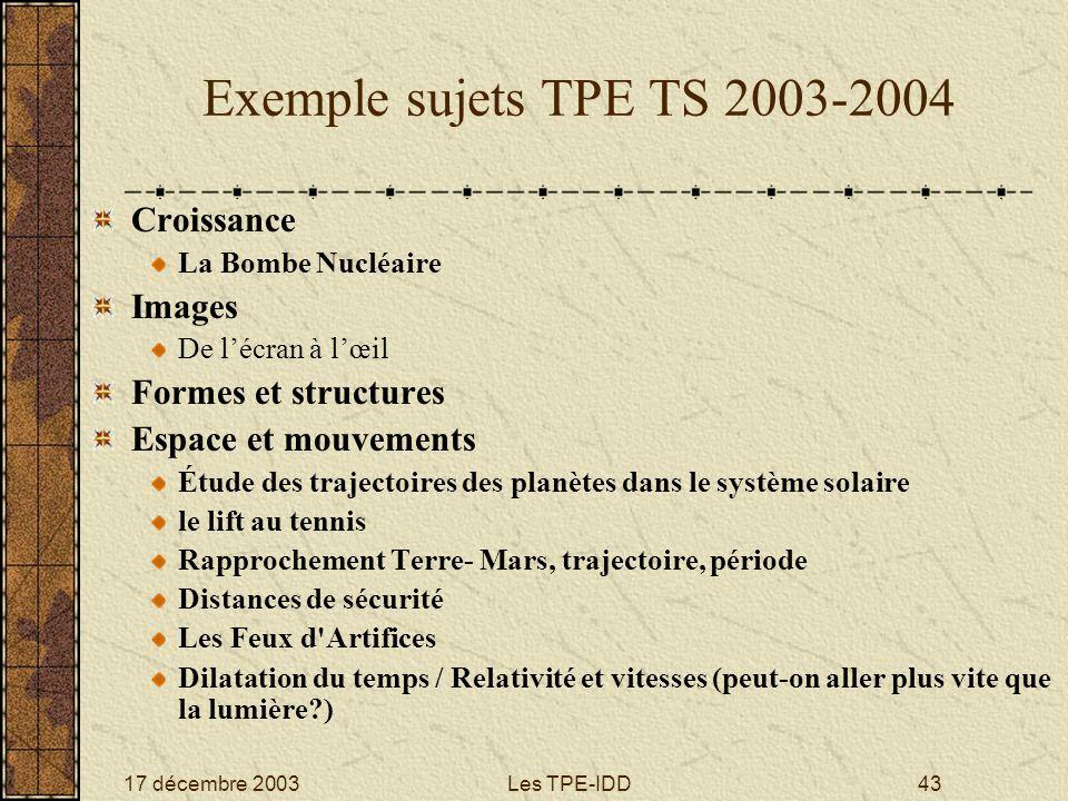 17 décembre 2003Les TPE-IDD43 Exemple sujets TPE TS 2003-2004 Croissance La Bombe Nucléaire Images De lécran à lœil Formes et structures Espace et mou