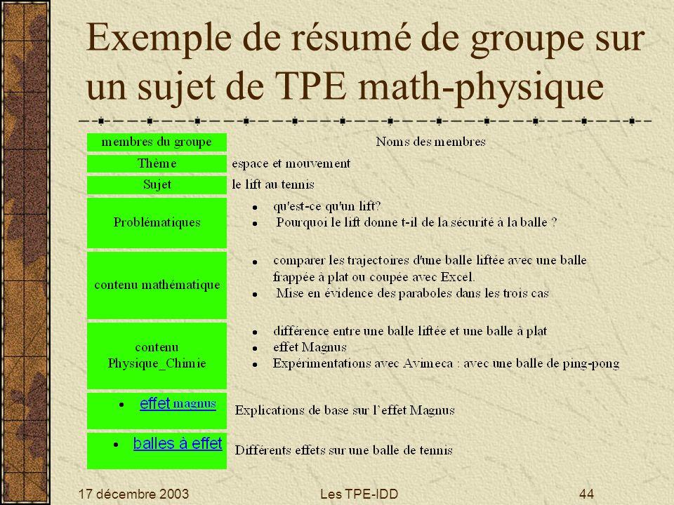 17 décembre 2003Les TPE-IDD44 Exemple de résumé de groupe sur un sujet de TPE math-physique