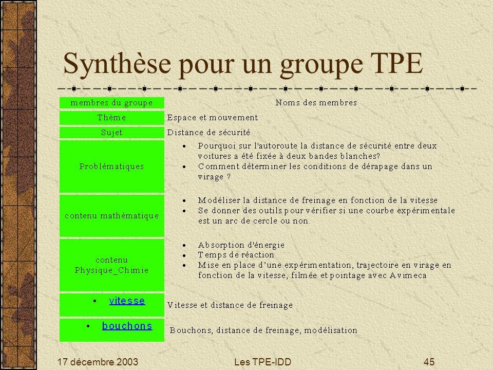 17 décembre 2003Les TPE-IDD45 Synthèse pour un groupe TPE