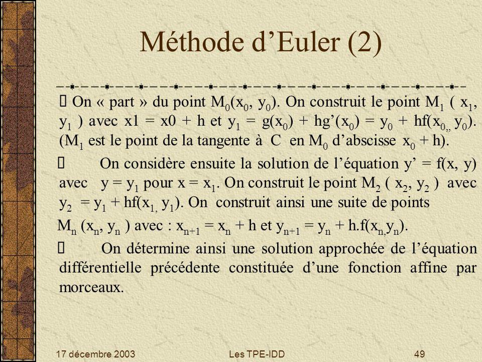 17 décembre 2003Les TPE-IDD49 Méthode dEuler (2) On « part » du point M 0 (x 0, y 0 ). On construit le point M 1 ( x 1, y 1 ) avec x1 = x0 + h et y 1