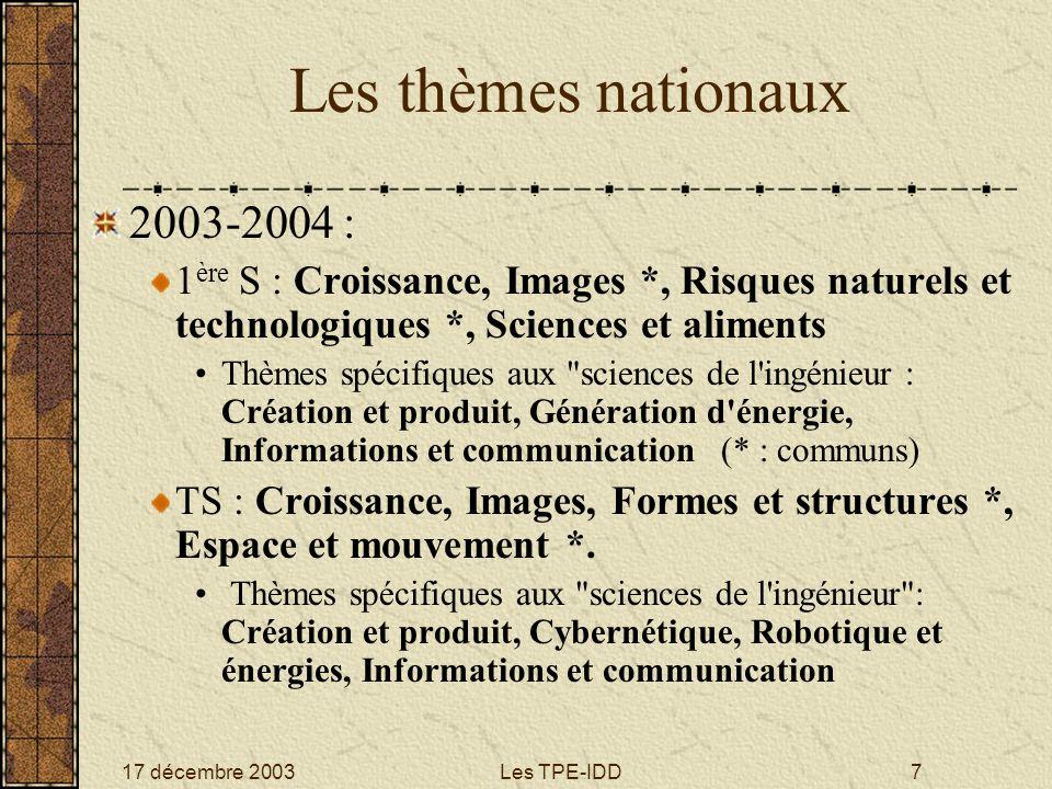 17 décembre 2003Les TPE-IDD7 Les thèmes nationaux 2003-2004 : 1 ère S : Croissance, Images *, Risques naturels et technologiques *, Sciences et alimen