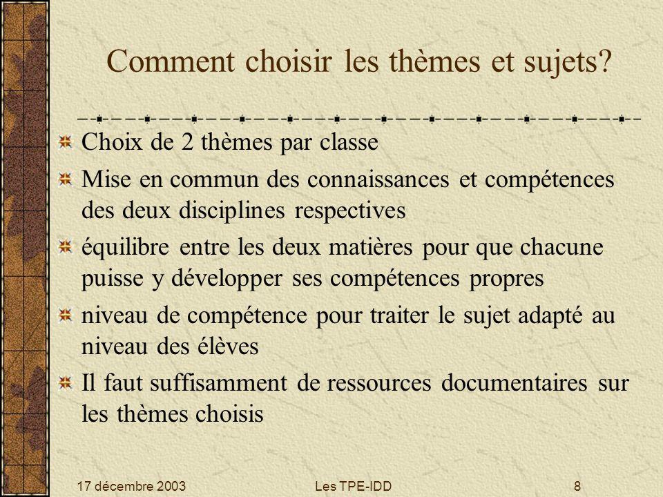 17 décembre 2003Les TPE-IDD8 Comment choisir les thèmes et sujets? Choix de 2 thèmes par classe Mise en commun des connaissances et compétences des de