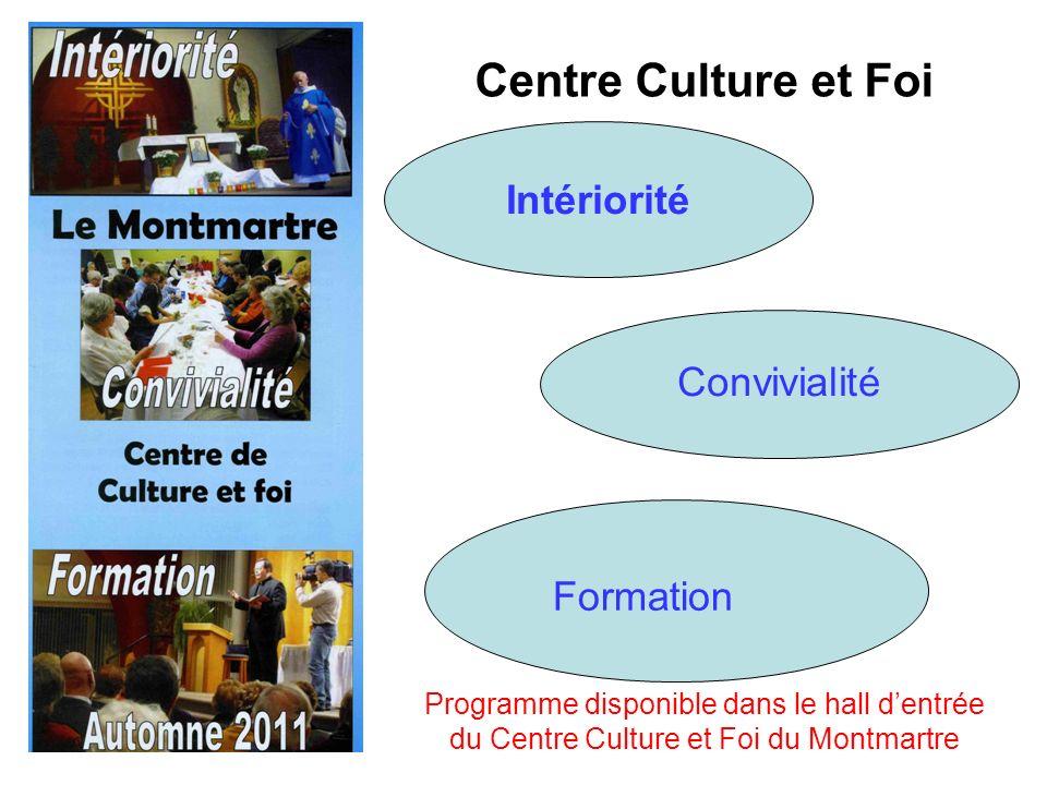 Centre Culture et Foi Intériorité Convivialité Formation Programme disponible dans le hall dentrée du Centre Culture et Foi du Montmartre