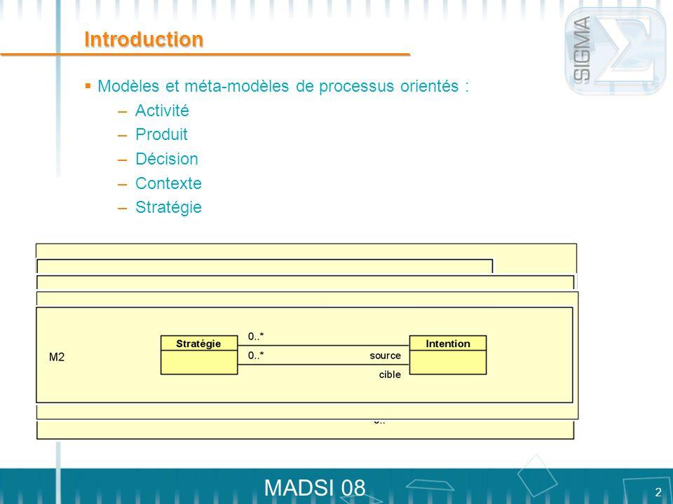 2 MADSI 08 Introduction Modèles et méta-modèles de processus orientés : – Activité – Produit – Décision – Contexte – Stratégie