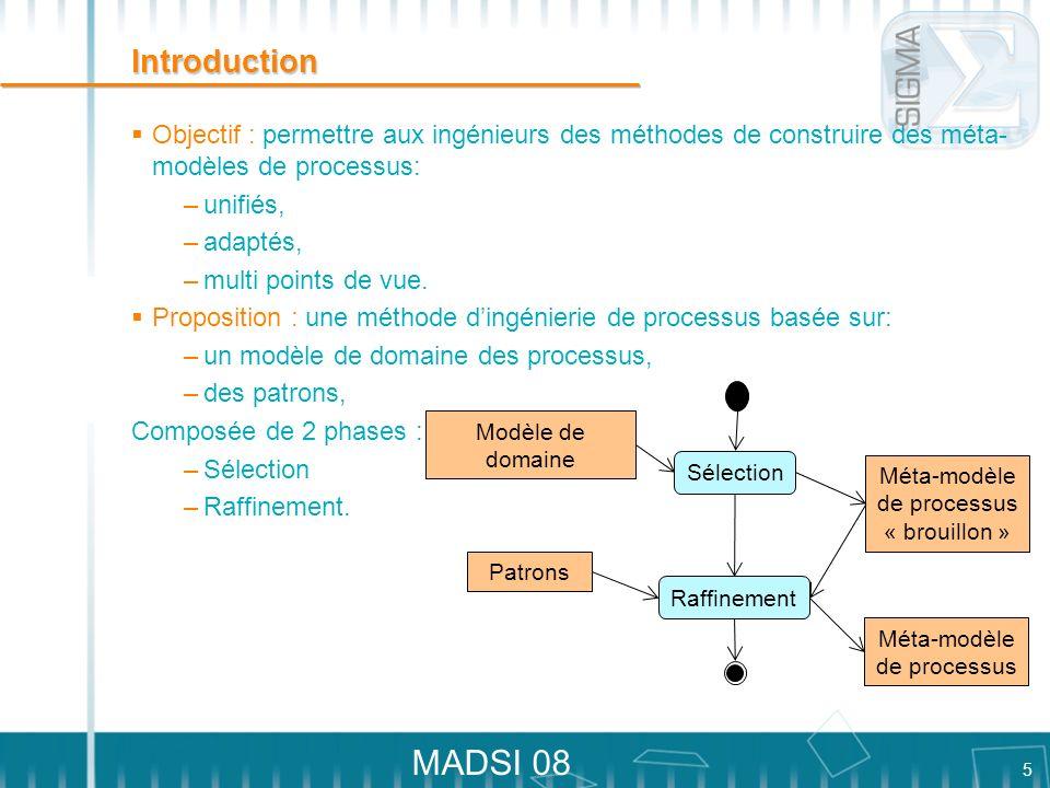 5 MADSI 08 Introduction Objectif : permettre aux ingénieurs des méthodes de construire des méta- modèles de processus: –unifiés, –adaptés, –multi poin