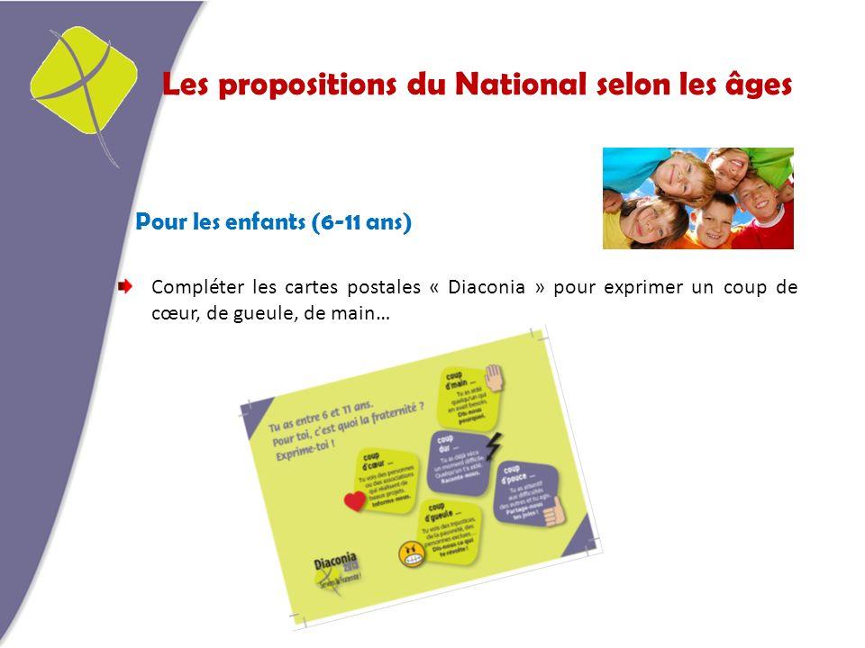 Les propositions du National selon les âges Pour les enfants (6-11 ans) Compléter les cartes postales « Diaconia » pour exprimer un coup de cœur, de gueule, de main…