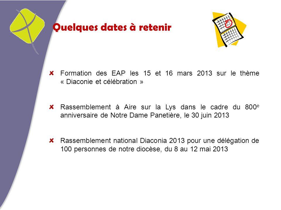 Quelques dates à retenir Formation des EAP les 15 et 16 mars 2013 sur le thème « Diaconie et célébration » Rassemblement à Aire sur la Lys dans le cad