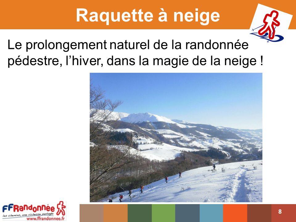 Le prolongement naturel de la randonnée pédestre, lhiver, dans la magie de la neige .
