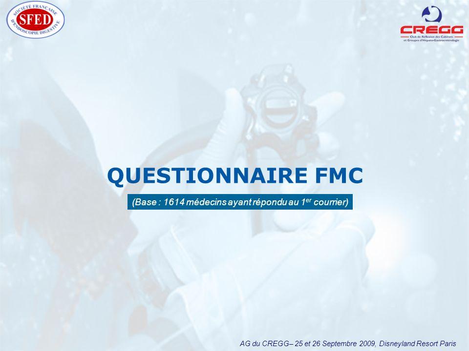 AG du CREGG– 25 et 26 Septembre 2009, Disneyland Resort Paris QUESTIONNAIRE FMC (Base : 1614 médecins ayant répondu au 1 er courrier)