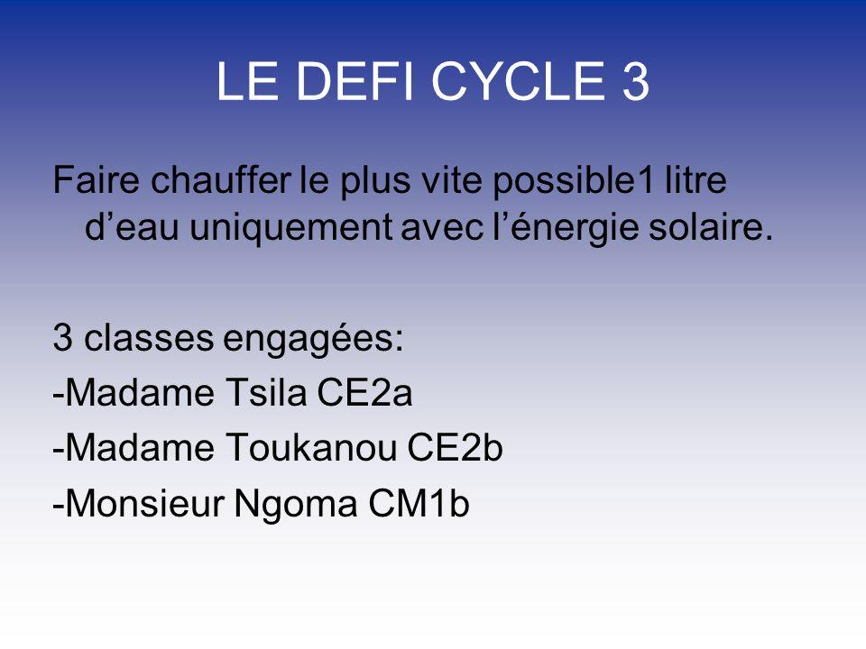 LE DEFI CYCLE 3 Faire chauffer le plus vite possible1 litre deau uniquement avec lénergie solaire.