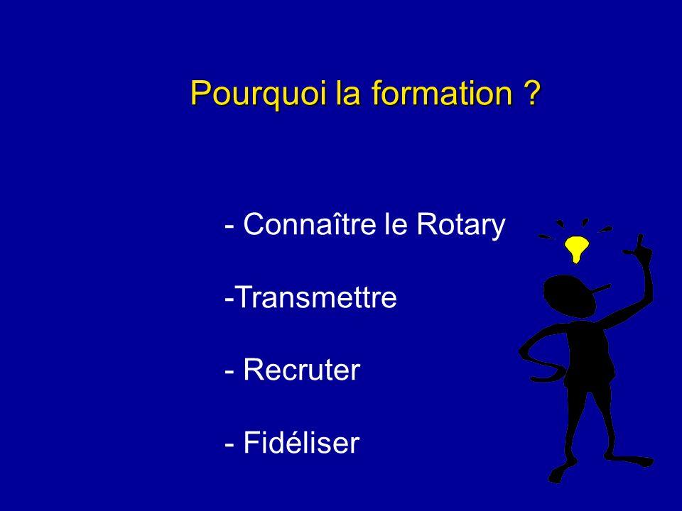 La formation Pour qui.- nouveaux rotariens - tous rotariens - futurs dirigeants Par qui .