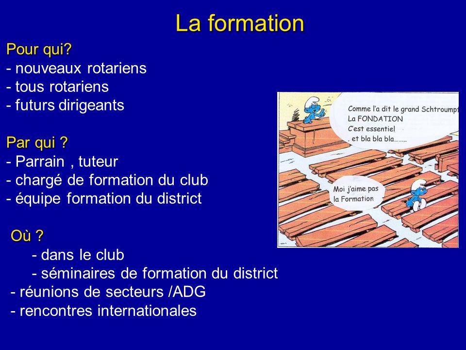 La formation Pour qui. - nouveaux rotariens - tous rotariens - futurs dirigeants Par qui .