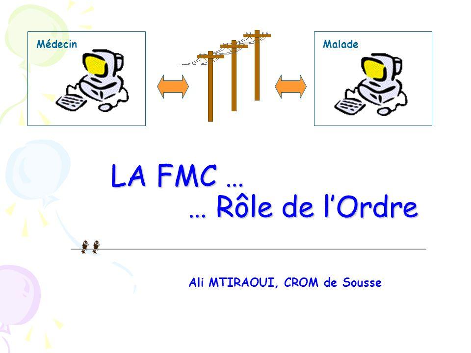 MaladeMédecin Ali MTIRAOUI, CROM de Sousse LA FMC … … Rôle de lOrdre