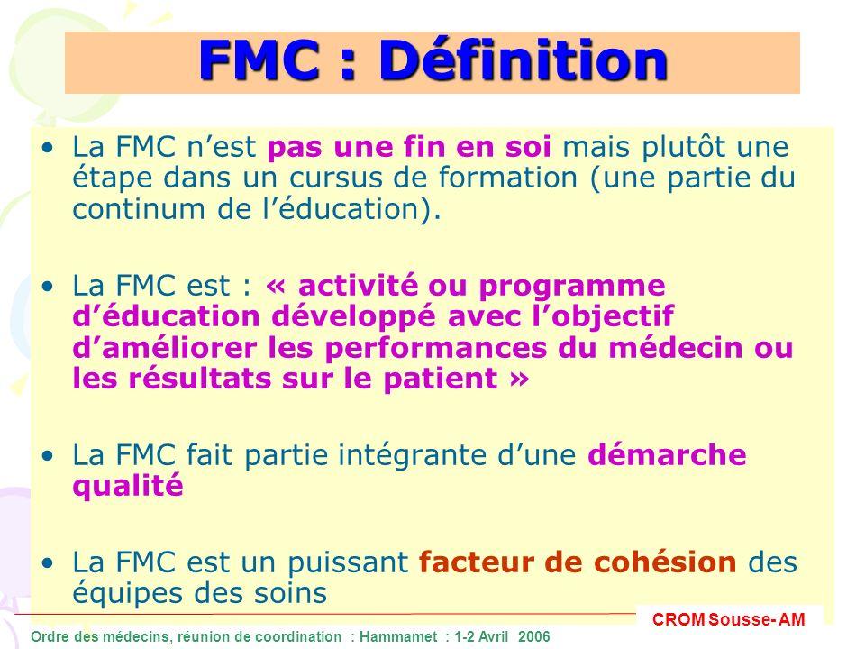 FMC : Définition La FMC nest pas une fin en soi mais plutôt une étape dans un cursus de formation (une partie du continum de léducation). La FMC est :