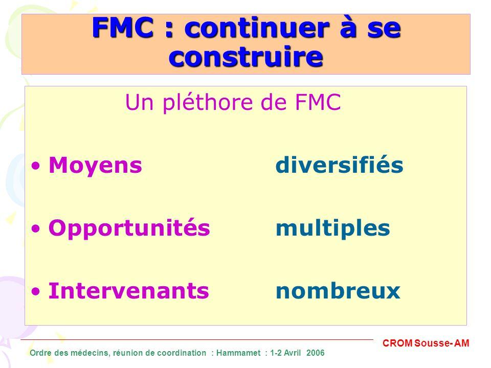 FMC : continuer à se construire Un pléthore de FMC Moyens diversifiés Opportunités multiples Intervenants nombreux CROM Sousse- AM Ordre des médecins,