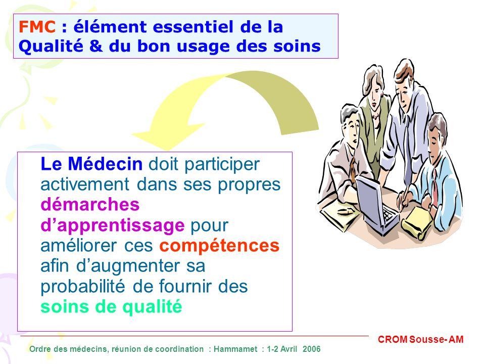 Le Médecin doit participer activement dans ses propres démarches dapprentissage pour améliorer ces compétences afin daugmenter sa probabilité de fourn