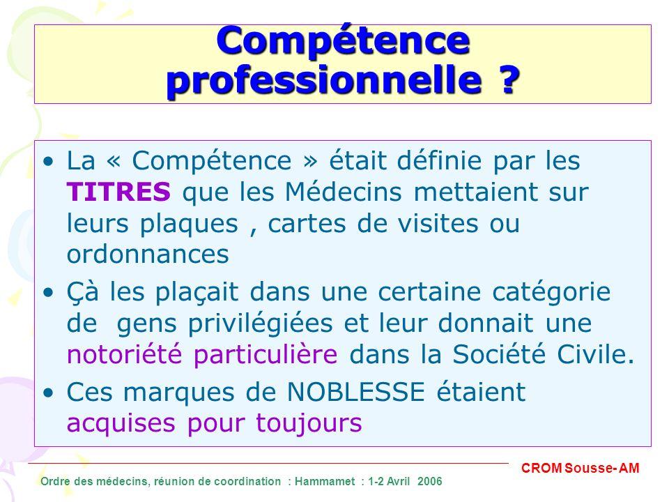La « Compétence » était définie par les TITRES que les Médecins mettaient sur leurs plaques, cartes de visites ou ordonnances Çà les plaçait dans une