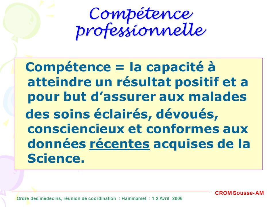 Compétence professionnelle Compétence = la capacité à atteindre un résultat positif et a pour but dassurer aux malades des soins éclairés, dévoués, co
