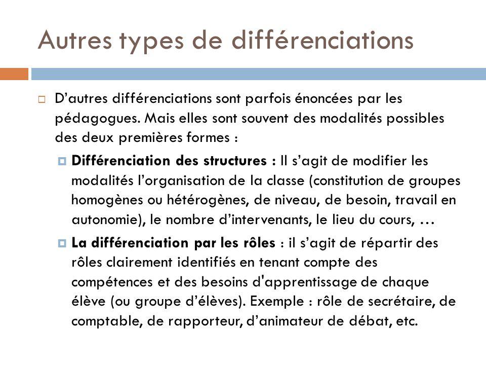 Autres types de différenciations Dautres différenciations sont parfois énoncées par les pédagogues.