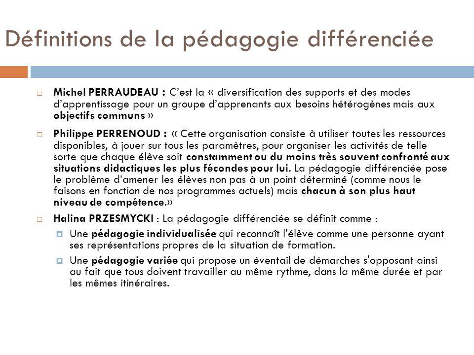 Définitions de la pédagogie différenciée Hétérogénéité des élèves Hétérogénéité des élèves Détermination de profils délèves, de styles cognitifs Mise en place dune pédagogie différenciée correspondant à ces profils.