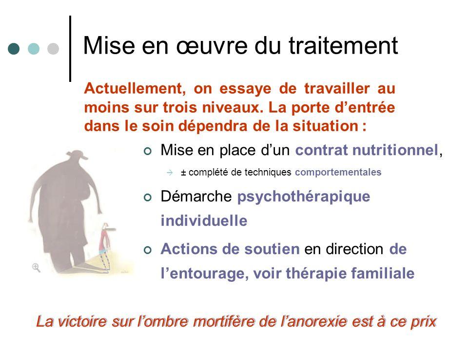 Mise en œuvre du traitement Mise en place dun contrat nutritionnel, ± complété de techniques comportementales Démarche psychothérapique individuelle A