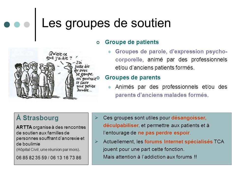 Les groupes de soutien Groupe de patients Groupes de parole, dexpression psycho- corporelle, animé par des professionnels et/ou danciens patients formés.