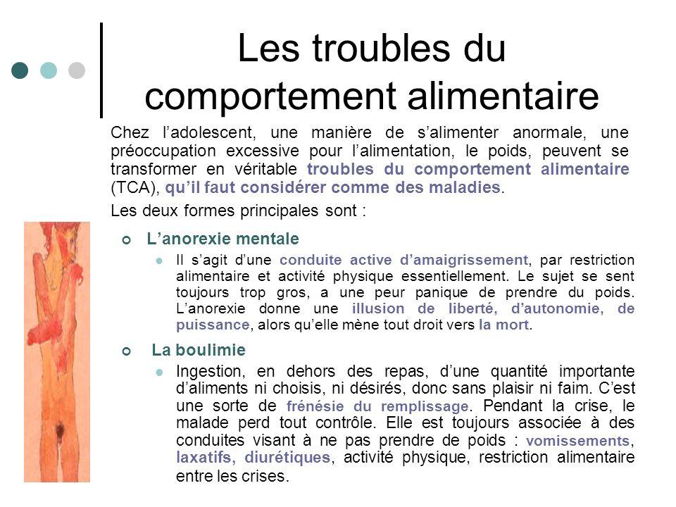 Les troubles du comportement alimentaire Lanorexie mentale Il sagit dune conduite active damaigrissement, par restriction alimentaire et activité physique essentiellement.