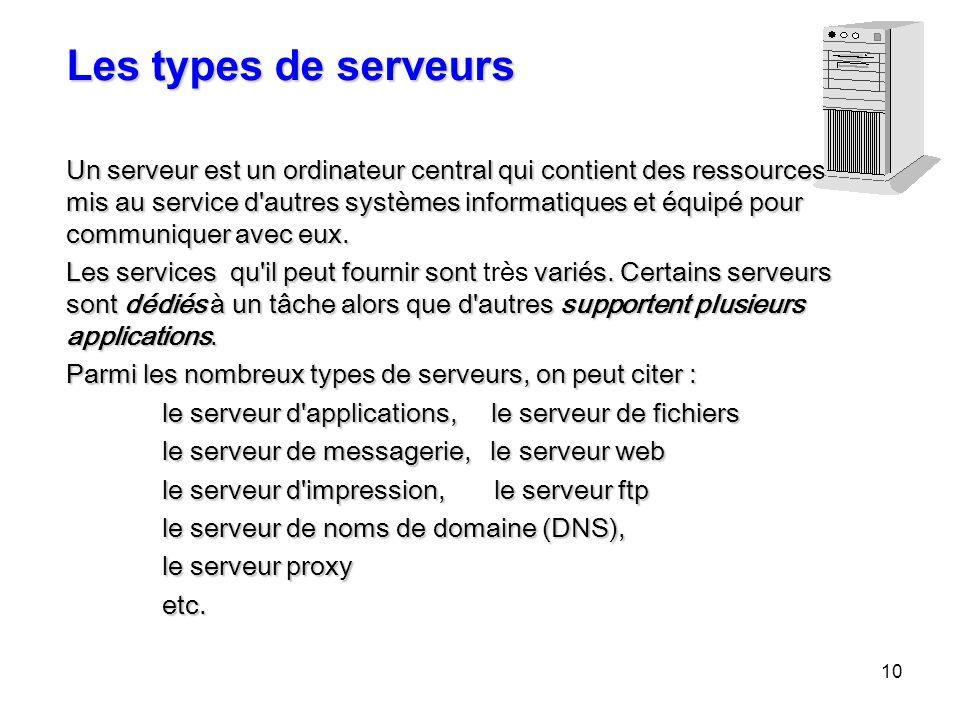 10 Les types de serveurs Un serveur est un ordinateur central qui contient des ressources mis au service d'autres systèmes informatiques et équipé pou