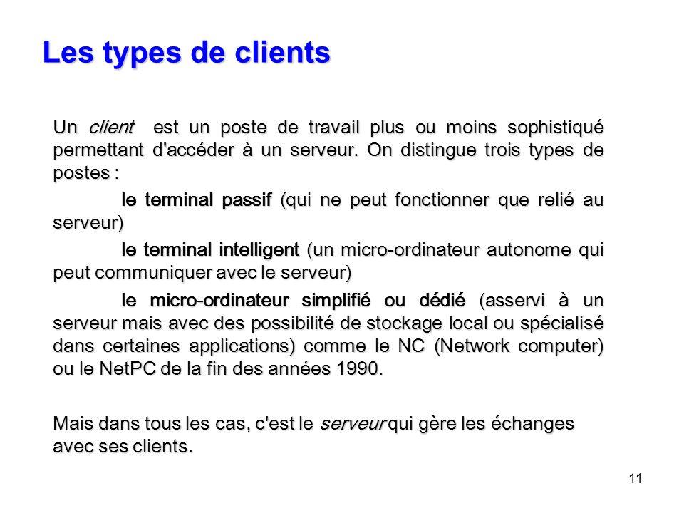 11 Les types de clients Un client est un poste de travail plus ou moins sophistiqué permettant d'accéder à un serveur. On distingue trois types de pos