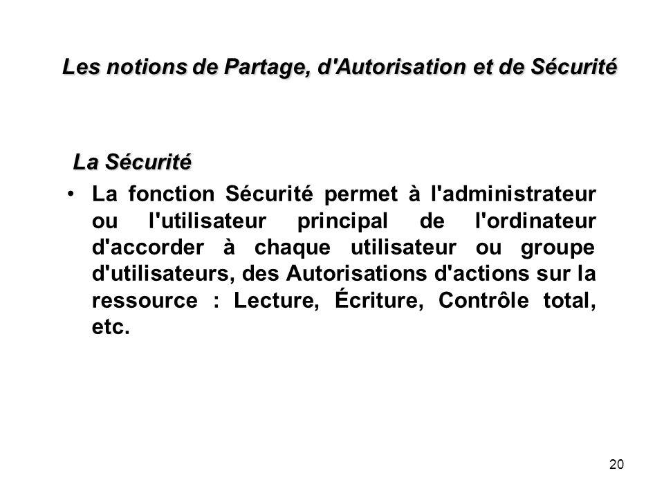 20 Les notions de Partage, d'Autorisation et de Sécurité La Sécurité La fonction Sécurité permet à l'administrateur ou l'utilisateur principal de l'or