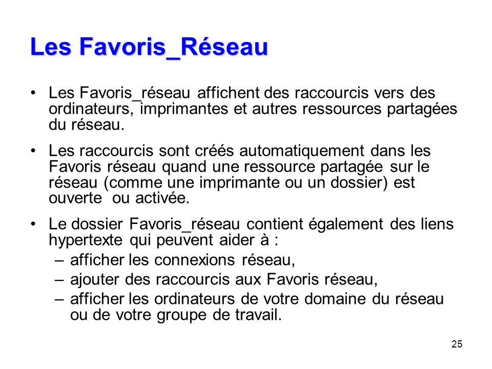 25 Les Favoris_Réseau Les Favoris_réseau affichent des raccourcis vers des ordinateurs, imprimantes et autres ressources partagées du réseau. Les racc