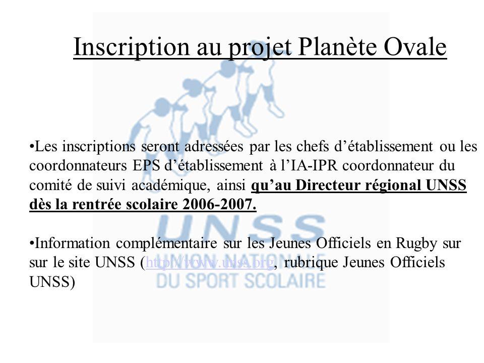 Inscription au projet Planète Ovale Les inscriptions seront adressées par les chefs détablissement ou les coordonnateurs EPS détablissement à lIA-IPR coordonnateur du comité de suivi académique, ainsi quau Directeur régional UNSS dès la rentrée scolaire 2006-2007.