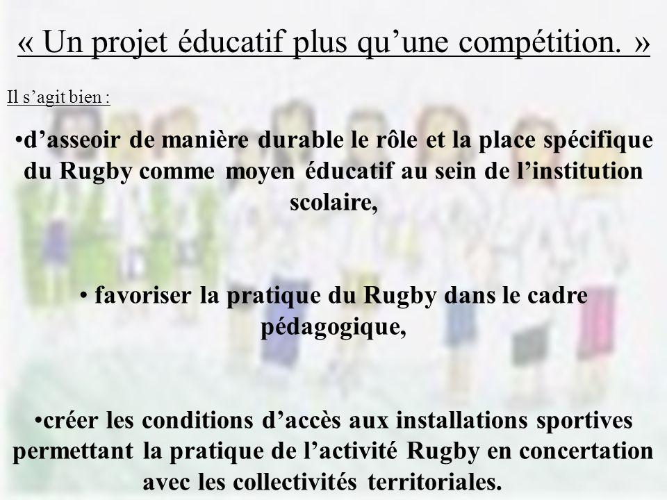 Il sagit bien : dasseoir de manière durable le rôle et la place spécifique du Rugby comme moyen éducatif au sein de linstitution scolaire, favoriser la pratique du Rugby dans le cadre pédagogique, créer les conditions daccès aux installations sportives permettant la pratique de lactivité Rugby en concertation avec les collectivités territoriales.