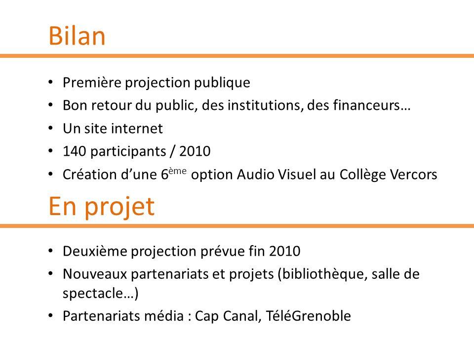 Bilan Première projection publique Bon retour du public, des institutions, des financeurs… Un site internet 140 participants / 2010 Création dune 6 èm