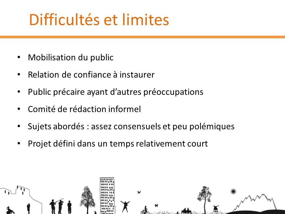 Difficultés et limites Mobilisation du public Relation de confiance à instaurer Public précaire ayant dautres préoccupations Comité de rédaction infor