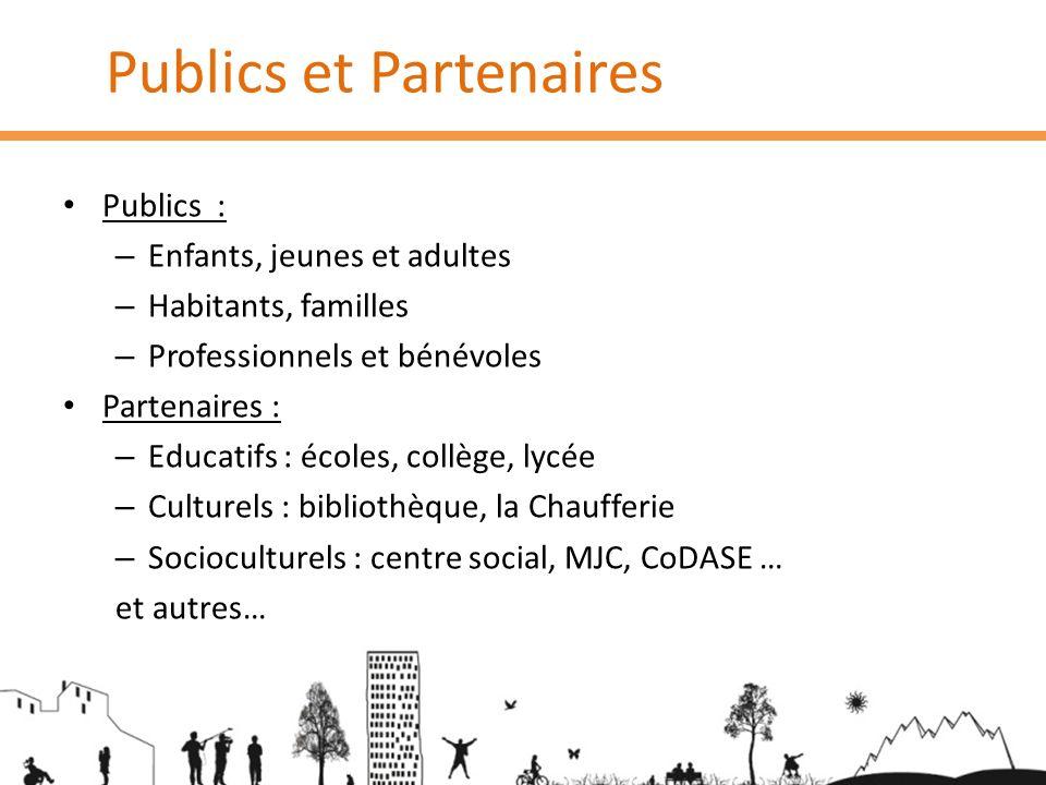 Publics et Partenaires Publics : – Enfants, jeunes et adultes – Habitants, familles – Professionnels et bénévoles Partenaires : – Educatifs : écoles,