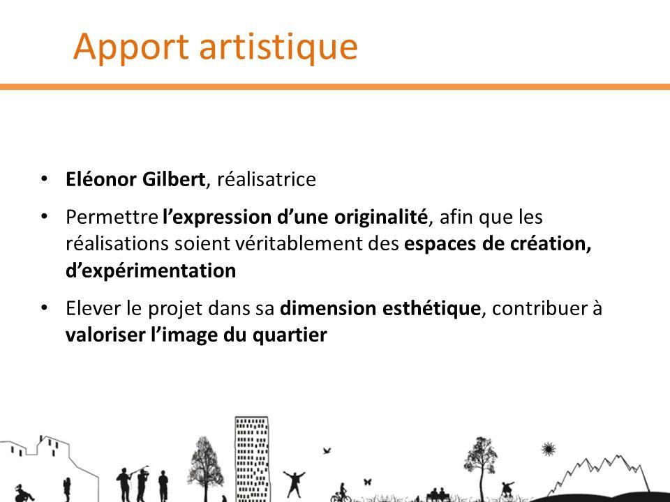 Apport artistique Eléonor Gilbert, réalisatrice Permettre lexpression dune originalité, afin que les réalisations soient véritablement des espaces de
