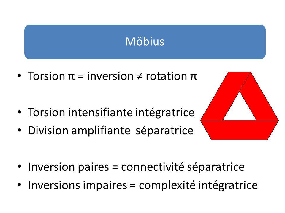 Möbius Torsion π = inversion rotation π Torsion intensifiante intégratrice Division amplifiante séparatrice Inversion paires = connectivité séparatric