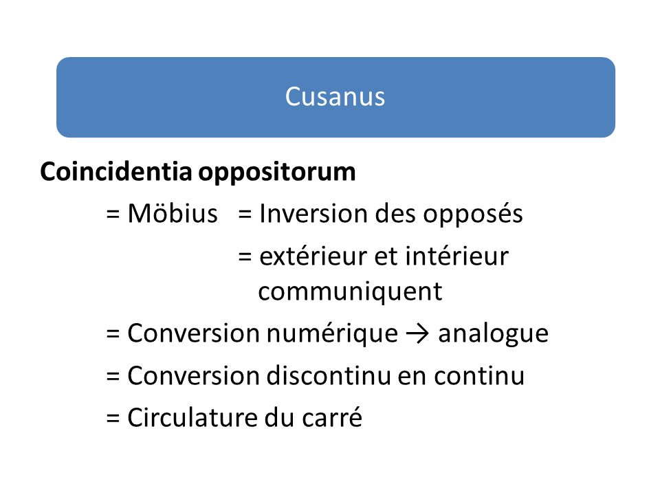 Coincidentia oppositorum = Möbius = Inversion des opposés = extérieur et intérieur communiquent = Conversion numérique analogue = Conversion discontinu en continu = Circulature du carré Cusanus