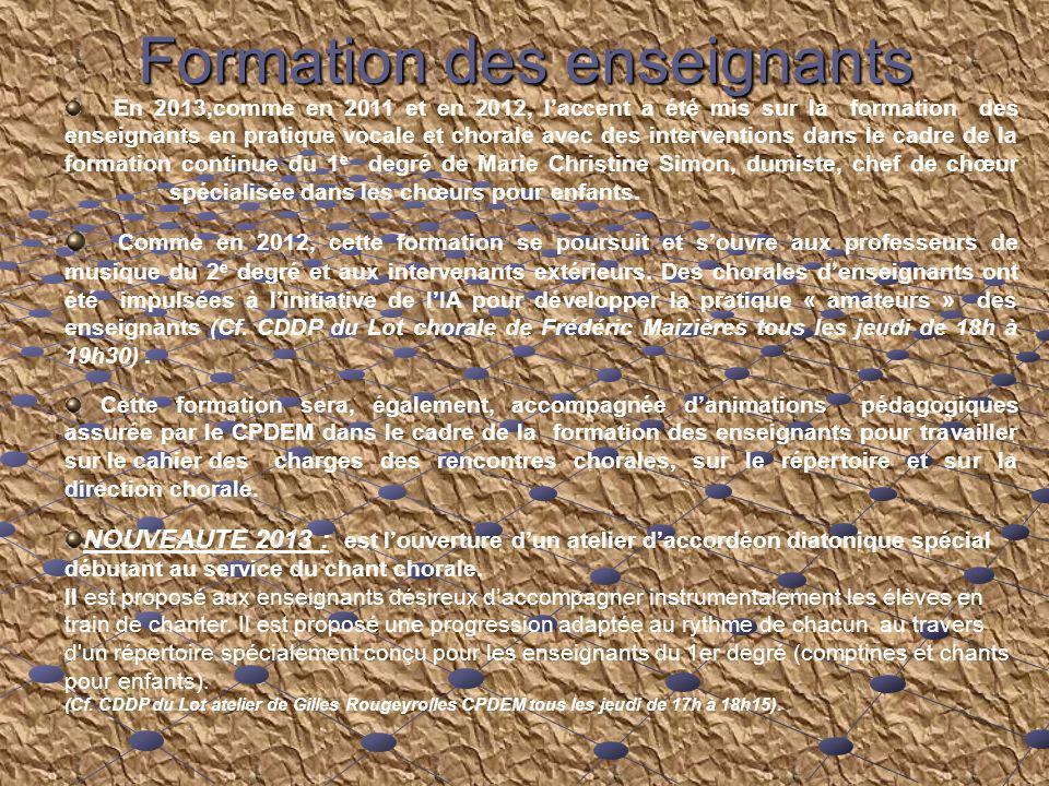 Rencontres chorales du Lot Descriptif annuel de laction : Descriptif annuel de laction : Animations pédagogiques et mise en route du projet, Animations pédagogiques et mise en route du projet, Aide technique et financière (recherche de subventions de la part des DDEN), Commande du document daccompagnement, Duplication de certains CD daccompagnement, Interventions dans les écoles, Enregistrements, Réservations des salles, des sonorisations (avec technicien son) et des éclairages (avec technicien éclairage), Médiatisation de lévénement (invitations des officiels, contact presse, radios locales …) Encadrement pédagogique et technique lors des différentes rencontres dans le département : répétition durant laprès midi suivie dune dans le département : répétition durant laprès midi suivie dune représentation en soirée devant les parents délèves.
