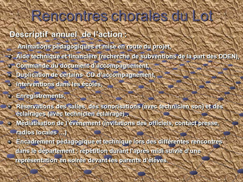 Rencontres chorales du Lot Descriptif annuel de laction : Descriptif annuel de laction : Animations pédagogiques et mise en route du projet, Animation
