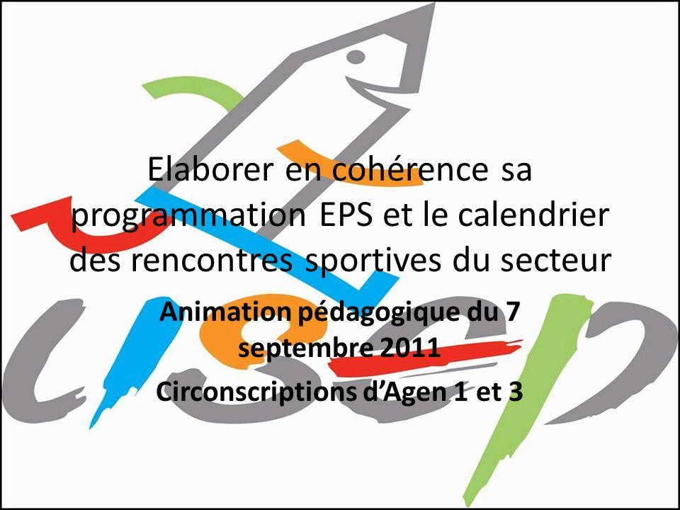 Elaborer en cohérence sa programmation EPS et le calendrier des rencontres sportives du secteur Animation pédagogique du 7 septembre 2011 Circonscript