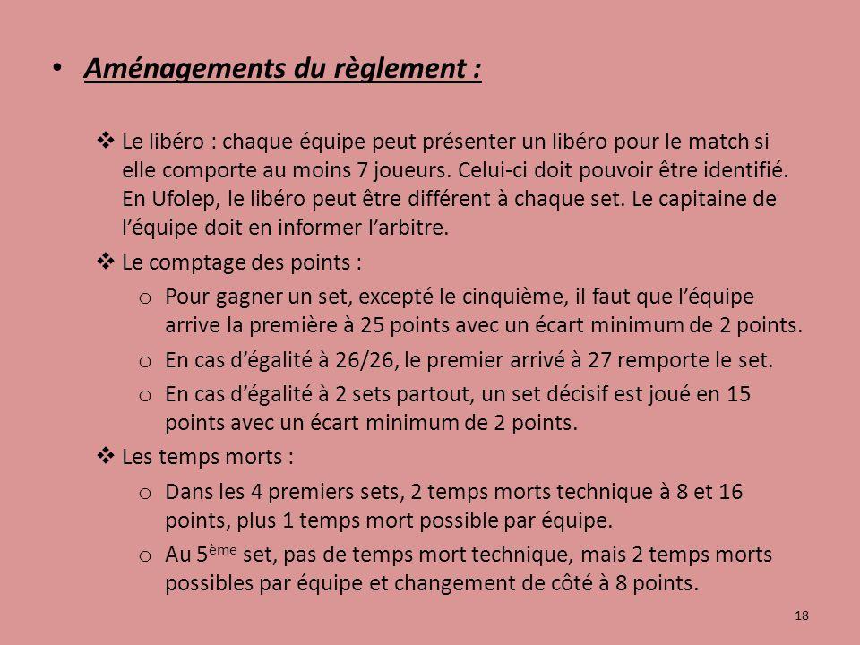 Aménagements du règlement : Le libéro : chaque équipe peut présenter un libéro pour le match si elle comporte au moins 7 joueurs.