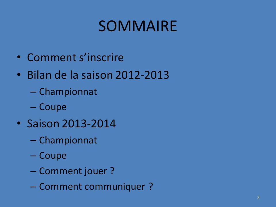 SOMMAIRE Comment sinscrire Bilan de la saison 2012-2013 – Championnat – Coupe Saison 2013-2014 – Championnat – Coupe – Comment jouer .