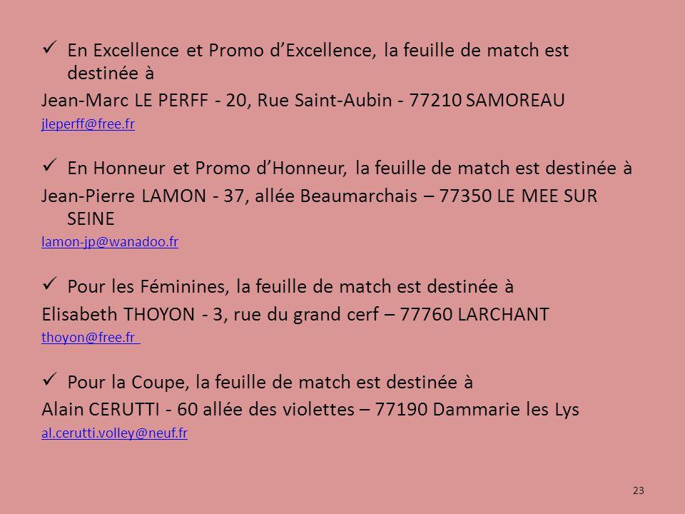 En Excellence et Promo dExcellence, la feuille de match est destinée à Jean-Marc LE PERFF - 20, Rue Saint-Aubin - 77210 SAMOREAU jleperff@free.fr En Honneur et Promo dHonneur, la feuille de match est destinée à Jean-Pierre LAMON - 37, allée Beaumarchais – 77350 LE MEE SUR SEINE lamon-jp@wanadoo.fr Pour les Féminines, la feuille de match est destinée à Elisabeth THOYON - 3, rue du grand cerf – 77760 LARCHANT thoyon@free.fr Pour la Coupe, la feuille de match est destinée à Alain CERUTTI - 60 allée des violettes – 77190 Dammarie les Lys al.cerutti.volley@neuf.fr 23