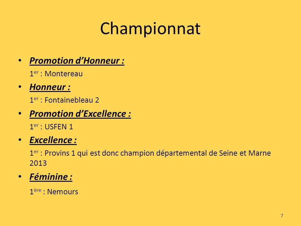 Championnat Promotion dHonneur : 1 er : Montereau Honneur : 1 er : Fontainebleau 2 Promotion dExcellence : 1 er : USFEN 1 Excellence : 1 er : Provins 1 qui est donc champion départemental de Seine et Marne 2013 Féminine : 1 ère : Nemours 7