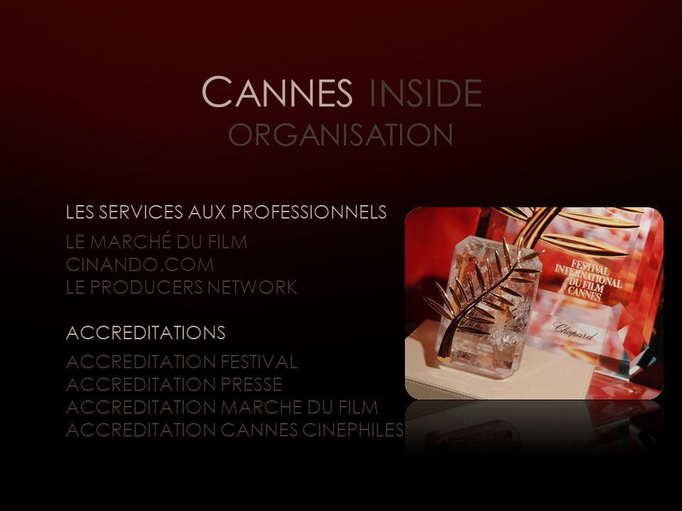C ANNES INSIDE ORGANISATION LES SERVICES AUX PROFESSIONNELS LE MARCHÉ DU FILM CINANDO.COM LE PRODUCERS NETWORK ACCREDITATIONS ACCREDITATION FESTIVAL ACCREDITATION PRESSE ACCREDITATION MARCHE DU FILM ACCREDITATION CANNES CINEPHILES